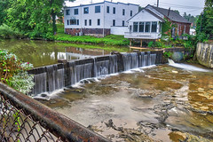 Chagrin be Dammed! (tquist24) Tags: chagrinfalls chagrinriver hdr nikon nikond5300 outdoor buildings dam geotagged house longexposure reflection reflections river spillway tree trees water waterfall windows ohio unitedstates