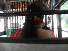 Bakkatcha (RubyGoes) Tags: red sari saree rose bus candolim goa india woman blue green tree grey monsoon driver orange marigolds window public transport