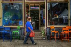 Temptation (Ken Mattison) Tags: people street candid outdoor color colours windows shopfronts tavern summer bradystreet panasonic fz1000 paths emptyseats doors milwaukee usa