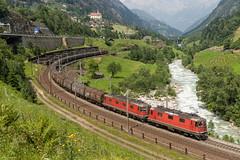 SBB Re 4/4 II 11245 & Re 6/6 11689 with a steeltrain, Wattingen, 2-7-2010 (mch68) Tags: cff electriclocomotive europe ffs rail re44ii re66 sbb schweiz schweizerischebundesbahnen switzerland wattingen zwitserland