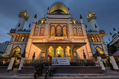 Full Frontal Mosque (henriksundholm.com) Tags: masjidsultan kampongglam mosque architecture islam religion religious sign advertisement bike motorcycle facade windows dusk city urban dome fence gate hdr singapore southeast asia