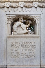 Sculpture of a man working on the 1915 Thomas Lowry memorial at Smith Triangle Park in Minneapolis, Minnesota, USA - The monument was designed by Austrian-born sculptor Karl Bitter. (thstrand) Tags: 20thcentury adultman american americans art arts artwork businessandindustry carvedstone carving civicmemorial culturalheritage decorativeart dedication dedications employment historic history homage inscription karlbitter lowryhill mn malefigure man memorial memorials midwest midwestern minneapolis minnesota monument monuments nobody outdoors outside parks proverb publicart saying sayings sculpture smithtrianglepark thomaslowry thomaslowrymemorial twincities us usa unitedstatesofamerica vintage visualarts wisdom work worker working