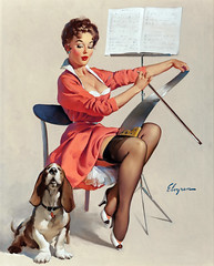 Doggone Good (Puppy Love) by Gil Elvgren, 1959 (gameraboy) Tags: gilelvgren pinup pinupart illustration painting vintage woman sexy doggonegood puppylove 1959 1950s stockings nylons thighhighs