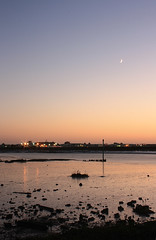 Twilight Tide (le dragon vert) Tags: light water reflection sky moon riveradur shoreham
