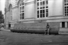 Seated (4foot2) Tags: manchester manchesterpeople people peoplewatching interestingpeople seat city streetphotography streetphoto streetshot street candid candidportrate reportage reportagephotography analogue film filmphotography oldfilm outofdatefilm expiredfilm experimental ilford ilfordhp5 hp5 rollei35 bw blackandwhite monochrome mono rodinal standdevelop 2018 fourfoottwo 4foot2 4foot2flickr 4foot2photostream