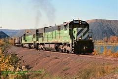 (SEE & HEAR)---LSI 3000, 7-Empire, Empire Jct, MI. 10-11-2003 (jackdk) Tags: train railroad railway lsi lakesuperior lakesuperiorandishpimimg ge gelocomotive geu30c gec307 u30c c307 bn burlingtonnorthern ore oretrain orejenny standardcab seeandhear seehear