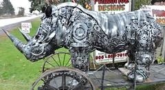 Rhinoceros (Will S.) Tags: mypics porthope ontario canada primitivedesigns art sculpture robot autoparts
