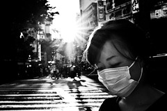 Tokyo Seclusion (Victor Borst) Tags: street streetphotography streetlife reallife real asia asian asians faces face candid travel travelling trip traveling shibuyacrossing urban urbanroots urbanjungle blackandwhite bw mono monotone monochrome tokyo girl woman lady female sunset sun sunflare flare city cityscape citylife japan japanese