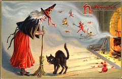 1908 HALLOWEEN Postcard, Series No. 150.  Published by Raphael Tuck & Sons, Art Publishers to the King & Queen of England (lhboudreau) Tags: postcard vintagepostcard holiday holidaycard halloween halloweencard devil devils blackcat cat pussy feline skinnycat 1908 frame framed goldframe fright raphael tuck raphaeltuck witch broom broomstick smoke cauldron whitehair seriesno150 britishpostcard british raphaeltucksons tucksons