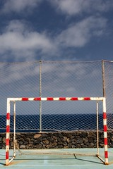 Abandoned / Abandonado (López Pablo) Tags: goal rust sky cloud blue green red white fence lacaleta elhierro nikon d7200 canary islands urban lines