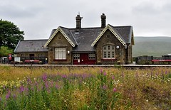 Ribblehead Train Station (Joan's Pics 2012) Tags: ribbleheadtrainstation trainline wildflowers oldbuilding lovely peaceful working highup victorian