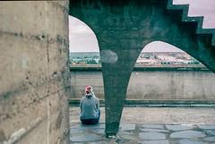 Woman on the roof (franckbihannic) Tags: analogique argentique analog architecture reze film filmisnotdead pellicule 35mm kodak portra 400 woman rooftop pentax p30n 50mm corbusier
