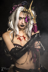 Arcana - Incantrix Nocturne (FightGuy Photography) Tags: witch arcana cosplay blood staff magic mage longhair greeneyes necklace fightguyphotography