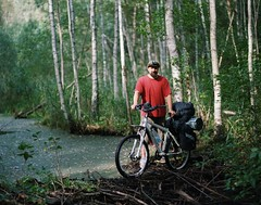 crossing the river (yury shulhevich) Tags: pentax67ii 105mm24 kodakportra400 nikon coolscan8000 filmistheway analoguephotography portrait autumnportrait forest forestride forestriver biketour heavyloaded belarus vilejskae 2018 september ontheroad wideopen handheld