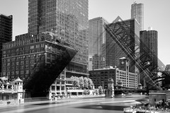 The Wells Street Bridge Opens (Jim Frazier) Tags: q3 businessdistrictdowntown chicagoriver 2018 apparatus architectural architecture art bw bank blackandwhite bluesky boats bridge bridges buildings chicago chicagoriverbridges cityurban cityscape cook cookcounty crossings desaturated devices equipment il illinois infrastructure iron jimfraziercom june machinery machines marine maritime mechanical metal monochrome nautical riparian river riverbank riverfront riverside scenery scenic ships skyline spans spring steel structures sunny transportation verticallines vessels water wellsstreetbridge time exposure