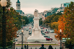 Peace Monument Looking Down Penna. Avenue (John Brighenti) Tags: washington dc districtofcolumbia washingtondc monuments evening golden hour autumn fall photowalk outdoors city urban exploration tourism sony alpha a7rii ilce7rm2 photography landmarks capitolhill road cars street trees sky buildings sonyshooter john brighenti johnbrighenti mydccool exploredc dcchasers arounddc ilovedc