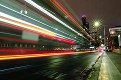88.6 MPH (John Westrock) Tags: seattle city downtown lights traffic motion columbiatower kingststation washingtonstate pacificnorthwest olympusomdem5 canonef1635mmf4lis canoneflenstomicrofourthirdstspeedboosterultra071x lightstreaks