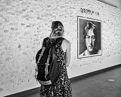 Appreciating Art 089 (Peter.Bartlett) Tags: bag noiretblanc art unitedkingdom people city olympuspenf peterbartlett girl monochrome uk m43 microfourthirds woman bw urban streetphotography blackandwhite niksilverefex candid liverpool england gb