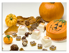 Trick or treat? Or just Betty's chocolate cakes... (johnhjic) Tags: johnhjic hasselblad x1d autumn colours cake flash studio broncolor siros leaf leafs pumpkin