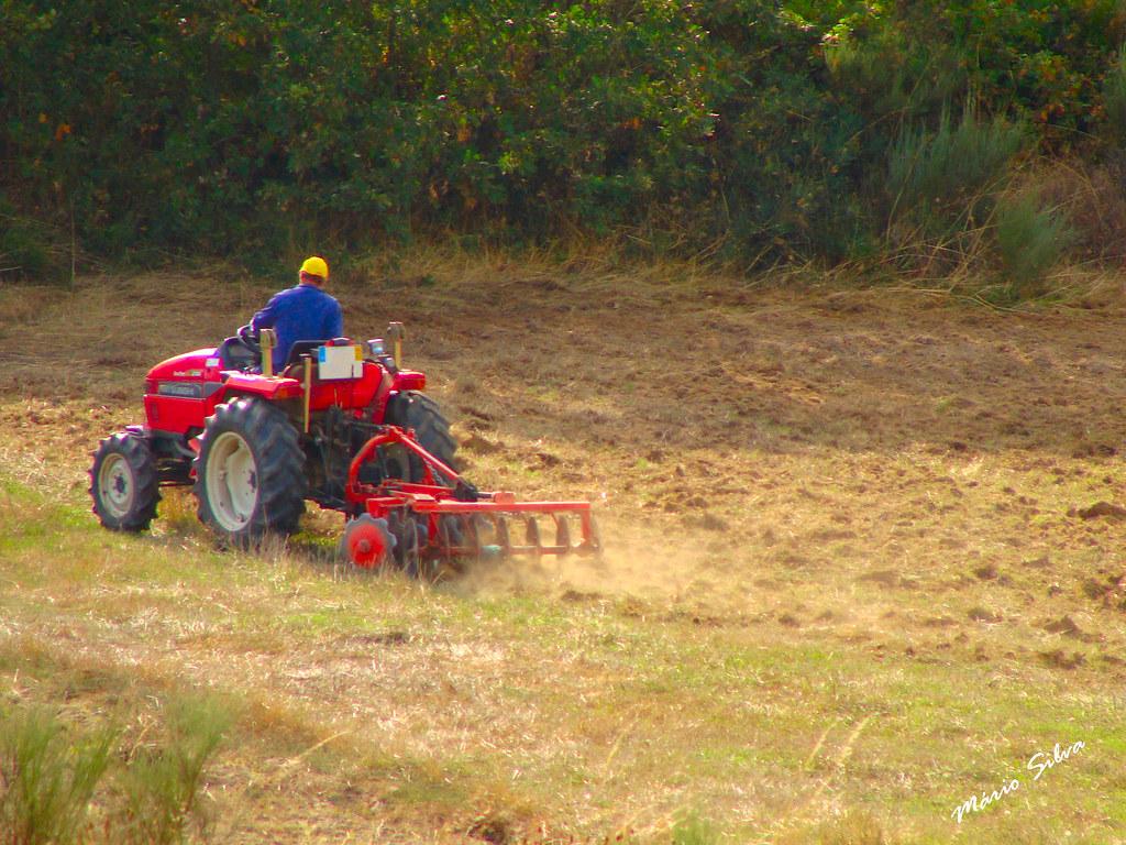 Águas Frias (Chaves) - ... trabalhando a terra com trator ...