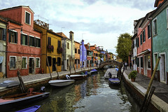 Burano View (LukeAndrew94) Tags: venice venezia italy italia veneto day water boats houses colours architecture blue red green orange yellow burano island colourful canal bridge plants flowers clouds reflection reflections hdr