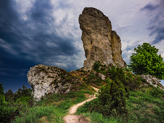 High Rock (Andrzej Kocot) Tags: rocks storm eveningmood eveningcolors andrzejkocot clouds sunset jura eveningsky eveninglight landscape mountain grass nature tree path road sky rzędkowice