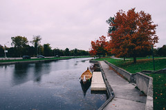 trent canal (viewsfromthe519) Tags: autumn fall vibes leaves trees colourful orange golden green brown red bokeh peterborough ontario canada kawarthas 705 maple liftlock trent canal canoe reflection
