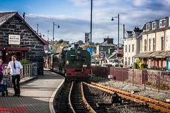 Train from Caernarfon arriving at Portmadog (1 of 1) (steamnut777) Tags: steam porthmadog wales narrowgauge canon rails welshhighlandrailway people houses