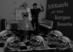 Visual Feast - Attack of the Burger Beasts! (Teddi Beres) Tags: second life sl parody vintage fifties 50s fast food burgers fries humor poodle skirt horror heels