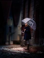 November Rain (agirygula) Tags: november rain novemberrain blue night wet streets city neighbourhood umbrella lovely kind childhood girl child kiddo memories magical