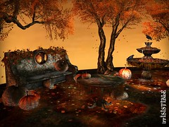 irrISIStible HALLOWEEN GARDEN (irrISIStible shop) Tags: autumn halloween shop irrisistible sl second life witch garden home house grass tree patch bench table fountain pumpkin fall leaves hud magic secondlife furnitures