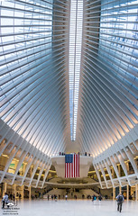 Sept. 11, 17th Anniversary (allentimothy1947) Tags: newyorkstate architecture cloudy memorial newyorkcity people streets subway transportationbuildings worldtradecenter 7829 pano new york state oculus transportaion hub flag anniversary sculpture roof light honor panoramic city rain world trade center