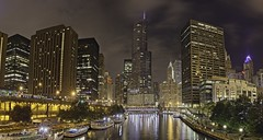 Trump Tower - Chicago Skyline (Jeremy Willetts) Tags: purple chicago trump tower river night panorama