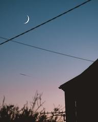(osreed) Tags: crescent crescentmoon nightscape night moon sunset dusk plane nightlandscape landscape stars