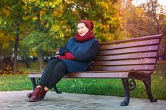 Autumn (svklimkin) Tags: portrait people park autumn girl bench smile svklimkin canon cute beautiful woman