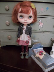Darling Noelle..... (simplychictiques) Tags: meimeicustomblythe ooakcustomblythe freckles heartbeautymark redhairs blythewithredhairs barbiejeanjacket coolcattights fringecut spokanewashington dollphotography childlike noelle