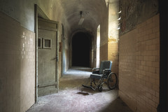 Waiting for a walk (Mike Foo) Tags: urbex hospital manicomio fuji fujifilm xt2 abandoned abbandono rozklad hdr haunting scary lost secret derelict decay wheelchair asylum hallway dystopia