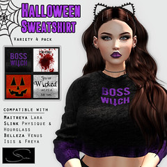 Stellar Halloween Sweatshirt 4 pack (Lexi★Morgan) Tags: stellar leximorgan halloween halloweenshirt pumpkin spooky maitreya belleza slink witch meshbody meshsweatshirt