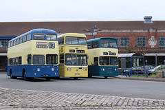 FHF 456 & OEM 788S & DKC 365L Wallasey Corporation 6 Leyland Atlantean with Metro-Cammell body Wallasey Corporation 1788 and Merseyside PTE 1365 Leyland Atlantean with Alexander body  Birkenehead (focus- transport) Tags: wirral bus tram show 2018 merseybus merseyside pte wallasey corporation tramways birkenehad national company midland red west chaserider grey green county coach leyland atlantean titan pd1 2 olympian metrocammell massey alexander northern counties