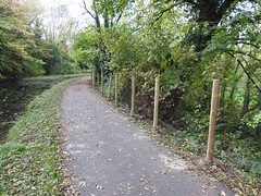 Monmouthshire-Brecon Canal, The Rec, Pontnewydd, Cwmbran 21 October 2018 (Cold War Warrior) Tags: posts fence canal pontnewydd cwmbran