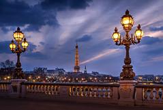 Alexandre III Eiffel Tower (photoserge.com) Tags: bleu blue hour paris pont alexandre iii cityscape light night colors composition frame sky clouds