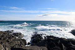 Blue Crash (Bodomi) Tags: sea ocean water shore stone rock rocks blue bright norway mølen sky cloud clouds wave waves