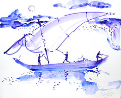AFRICA TO THE NAKED 216 (eduard muntada) Tags: africa to the naked 216 boat river sun light essential mountains watercolor purple blue minimal survive oxid