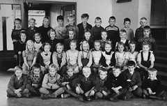 Class photo (theirhistory) Tags: children kids boys girls school class pupils form group jacket jumper trousers wellies shorts wellingtons shoes