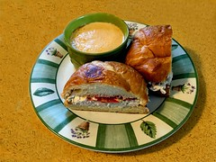 Lobster Bisque And Chicken Salad On A Croissant (redhorse5.0) Tags: lobsterbisque chinkensalad lunch dunnellonflordia justacupcakebakeryandcafe cafe tomato sonya850 redhorse50 soup