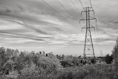 Autumn landscape with the city in the distance (jmschrei) Tags: alberta bw calgary cityscape clouds da1685 landscape monochrome pentaxkp pylons sky trees
