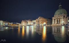 Venetian Nights (.::Prad Patel::.) Tags: venice italy night reflection canal church bridge lights light water boat