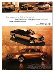 1997 Audi A3 A4 A4 Avant A6 A8 Aussie Original Magazine Advertisement (Darren Marlow) Tags: 1 2 4 6 7 8 9 19 97 1997 a audi a3 a4 a6 a8 avant s sedan w wagon c car cool collectible collectors classic automobile v vehicle g greman germany e european europe 90s