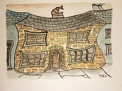 No 1 warland  A Totnes street. (jeffhill6) Tags: totnes abstractart architecture warland painting inkandwatercolour
