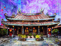Dalongdong Baoan Temple (http://www.agatti.com) Tags: east orient south asia china sea island taiwanese folk religious han temple religion datongdistrict taipei taiwan old eastern historical unesco architecture building monument landmark landscape scape view panorma scene scenery vista city town urban outdoor sky wonderland culture tourism travel visitors pilgrims digital painting texture layers impression surreal realism splatter stains spots splash drip dripping brush stroke grunge glimpse colorful blue violet red green dragons